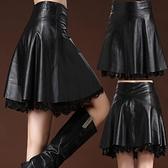 皮裙 皮裙半身裙女a字大碼過膝蓋中長款高腰百褶裙新款ins超火裙子【快速出貨】