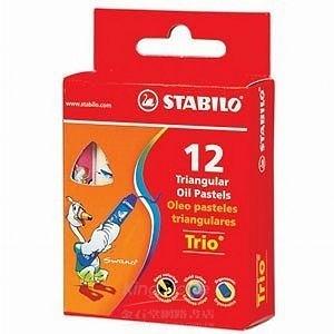trio系列3歲後兒童用油性粉蠟筆組12支裝(1盒12色)紙盒包裝