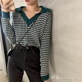 針織上衣 上衣女韓版新款泫雅風短款撞色針織衫2021秋裝復古格子長袖毛衣潮 伊蘿