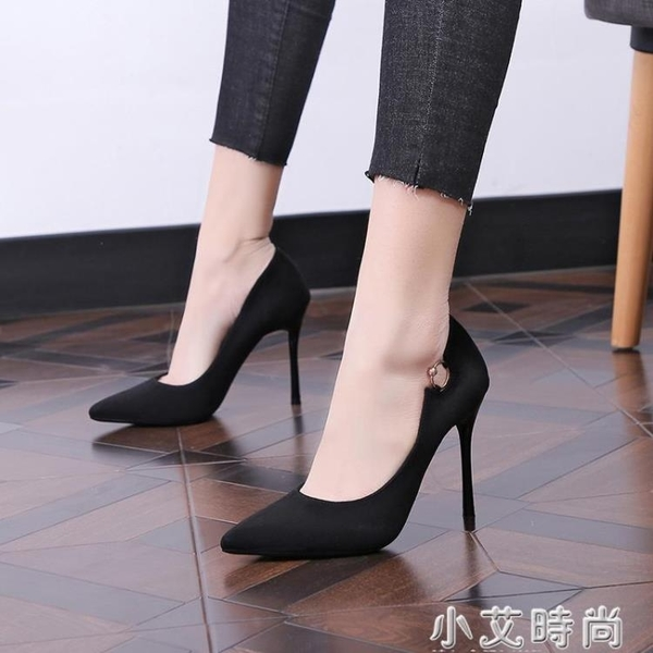 2020春秋新款韓版百搭絨面尖頭高跟鞋細跟性感氣質通勤OL職業單鞋 小艾新品
