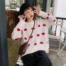 (全館一件免運)DE SHOP~(XA-5930)寬鬆愛心圖案長袖針織衫