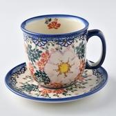 波蘭陶 映雪紅梅系列 咖啡杯盤組 250ml 波蘭手工製