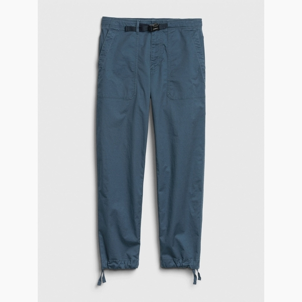 Gap男裝 工裝風格純色抽繩束口休閒褲 572194-石板靛藍