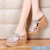 厚底涼鞋名鷗鳥坡跟拖鞋女夏季新款鬆糕跟韓版水鉆女拖鞋增高厚底涼鞋 快速出貨