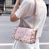 限定款側背包-新品小包包女新品免運夏天潮正韓百搭斜背包鍊條側背包時尚小方包