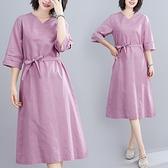 洋裝 中大尺碼女裝 大碼2021夏季新款文藝復古寬鬆顯瘦棉麻中長款連身裙子胖妹妹