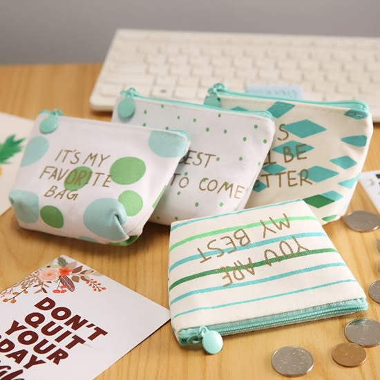 ◄ 生活家精品 ►【P525】綠色簡約印花零錢包 收納包 小錢包包 防水 小物包 硬幣包 鑰匙包