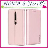 Nokia 6 (2018版) 5.5吋 韓曼素色皮套 磁吸手機套 可插卡保護殼 側翻手機殼 掛繩保護套 支架 錢包款