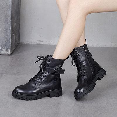 真皮手工短靴 皮帶扣厚底馬丁靴 英倫風機車靴-夢想家-標準碼-0925