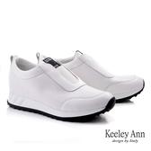 ★2019秋冬★Keeley Ann我的日常生活 鬆緊透氣全真皮懶人休閒鞋(白色) -Ann系列