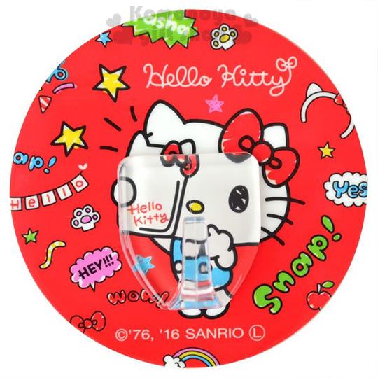 〔小禮堂〕Hello Kitty 日製貼式掛勾《圓型.紅.自拍.手繪風》耐重1.5公斤 4956810-86242