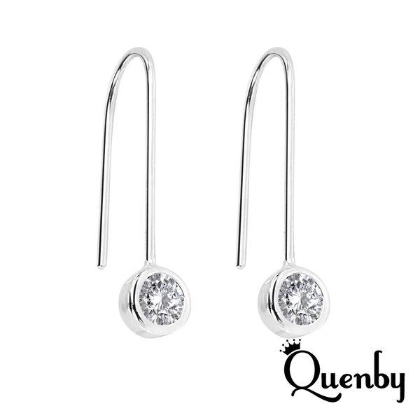Quenby 韓劇太陽的後裔 100% 925純銀 鑲鋯石耳勾款/耳環
