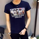 短袖T恤 韓版修身男裝印花圓領潮男青年半袖上衣《印象精品》t10
