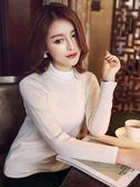 半高領針織打底衫女秋冬新款韓版短款長袖套頭修身百搭毛衣  免運