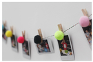 【韓風童品】(16入/組)藝術繽紛彩色毛球掛飾  木夾相片裝飾 節慶掛飾 拍攝道具背景裝飾掛旗