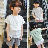 短袖上衣 男童T恤拼接直條紋短袖上衣 S73004