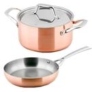 (組)LASSAN蘿莎不鏽鋼雙耳湯鍋20cm+單柄煎盤26cm