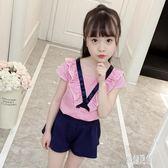 女童短袖套裝 女童夏裝套裝寶寶8-9歲女孩短袖休閒兩件套潮 DJ10759【原創風館】