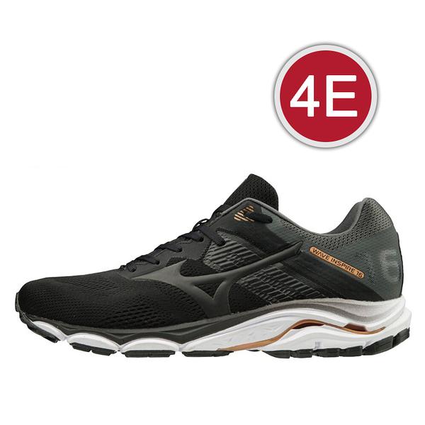 MIZUNO 20SSO WAVE INSPIRE 16 4E 超寬楦支撐型男款慢跑鞋 黑灰 J1GC204509 贈1襪