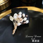 天然淡水珍珠花束胸針 胸花 別針 韓國 奢華 大氣服裝配飾 LN118 【雅居屋】