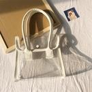 上新透明小包包女新款搭配洋氣PU皮拼接手提包拍照沙灘包-Ballet朵朵