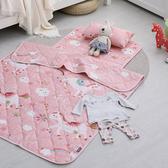 兒童睡墊涼被組 / 200織紗精梳棉 / 快樂獨角獸(粉)