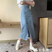 高腰A字裙夏季2020年新款復古開叉牛仔半身裙女中長款包臀裙裙子 夢幻衣都