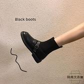 瘦瘦襪子靴小短靴春秋英倫連襪單靴馬丁加絨彈力襪筒靴女【時尚大衣櫥】