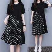 洋裝拼接裙子中大尺碼M-4XL波點短袖連身裙百褶裙寬鬆中長款長裙4F101-9852.胖妹大碼