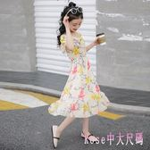 女童連身裙2019新款洋裝中大童雪紡長款洋氣公主裙兒童露肩沙灘裙 XN2567【Rose中大尺碼】