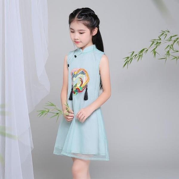 伊人 女童連身裙童裝夏款無袖兒童紗裙中國風唐裝公主裙小女孩旗袍