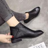 短靴女2018新款馬丁靴英倫風學生棉鞋加絨靴子女冬季女靴平底女鞋『韓女王』