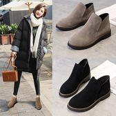馬丁靴女英倫風短靴磨砂平底粗跟韓版「巴黎街頭」