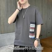 J實拍短袖t恤男潮牌寬鬆純棉五分半袖新款夏季男裝衣服M81110 阿卡娜