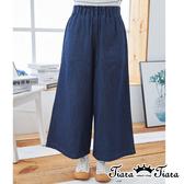 【Tiara Tiara】百貨同步ss   腰圍皺褶舒適寬版牛仔褲(深藍/淺藍)