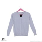 【INI】氣質出眾、立體橫條紋針織小外套.灰色