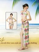 【M8432 】梅林泳裝降價↘特賣~大女彩色花叢比基尼搭罩衫三件式泳衣 贈泳帽