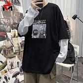 長袖T恤 秋衛衣男寬鬆ins潮流假兩件長袖t恤男港風休閒秋衣男 芊墨 新品