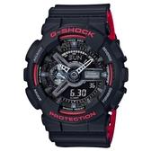 【CASIO】 G-SHOCK 絕對強悍黑與紅系列科技雙顯錶-黑X紅(GA-110HR-1A)