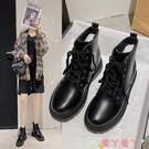 馬丁靴 馬丁靴女潮2021年新款網紅百搭冬季厚底英倫風短靴瘦瘦靴 愛丫 新品