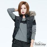 Victoria 蕾絲條剪接長袖T-女-淺灰