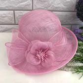 帽子女夏天優雅花朵亞麻紗帽遮陽帽復古寬檐捲邊禮帽 野外之家igo