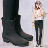 雨鞋S 韓國水鞋女防水膠鞋女時尚款外穿中筒雨靴防滑成人套鞋水靴 陽光好物