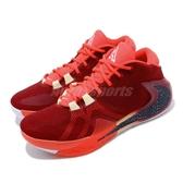 Nike 籃球鞋 Zoom Freak 1 EP 紅 黑 男鞋 運動鞋 字母哥 反勾 【PUMP306】 BQ5423-600