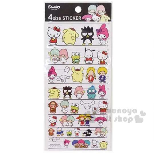 〔小禮堂〕Sanrio 大集合 日製造型貼紙《黑白紙卡.4種尺寸.多角色.朋友》4991277-60731