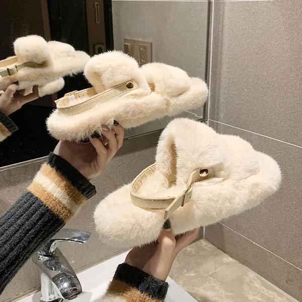 毛毛鞋 網紅毛毛拖鞋女冬外穿2020新款涼拖鞋ins潮百搭時尚秋季毛絨女鞋【全館免運】