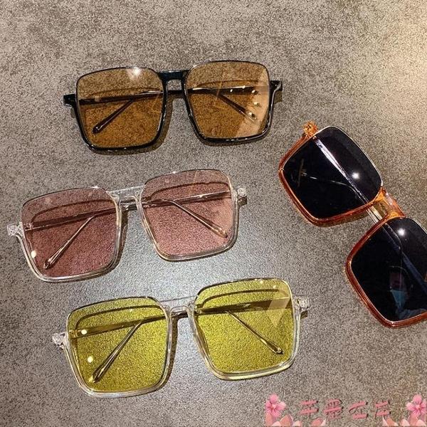 墨鏡韓版復古ins大框顯瘦太陽眼鏡個性半框方形圓臉茶色防紫外線墨鏡 芊墨左岸