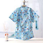【新年鉅惠】男女童純棉紗布日式家居服套裝兒童和服短袖睡身浴身空調服寶寶夏