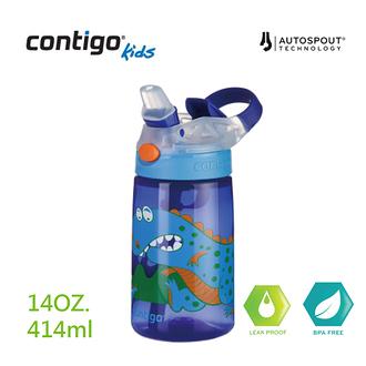 【美國CONTIGO】Gizmo 吸管兒童水壺414cc(寶藍恐龍)