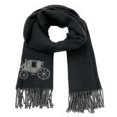 【COACH】新款大馬車LOGO100%羊毛圍巾(黑灰)